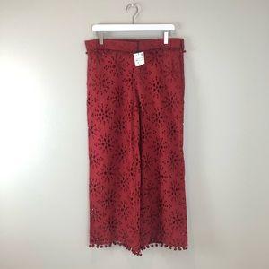 Zara TRF red Pom Pom cutout wide leg pants XS
